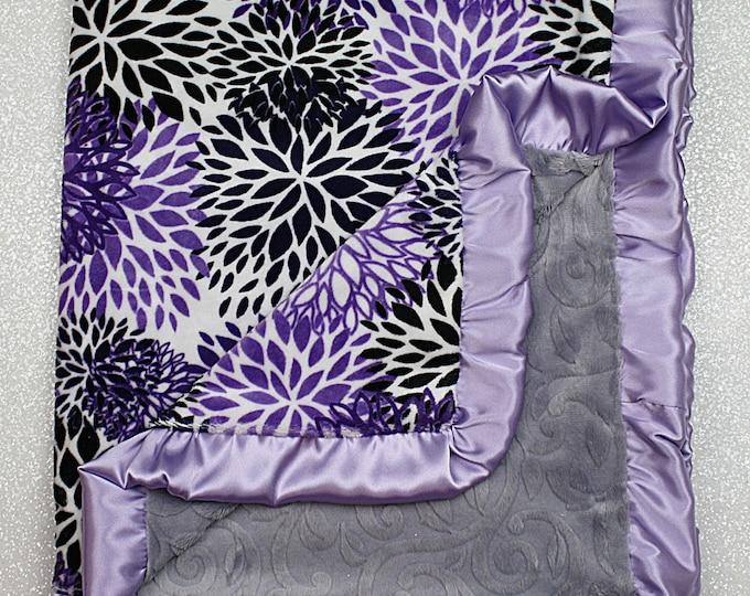 Minky Blanket, baby girl blankets, baby girl gift, purple, jewel, soft blanket, vine Print, bloom, floral, purple and grey minky