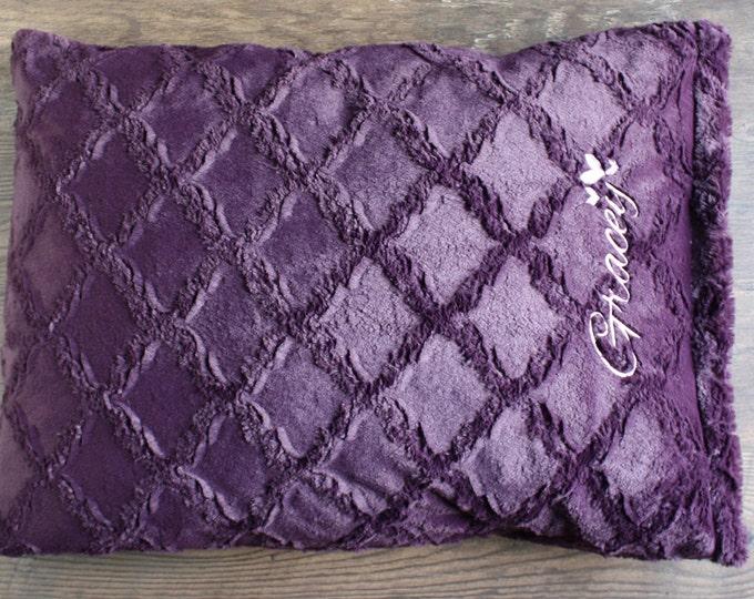 Embroidered Minky Pillowcase, Engraved, pillowcase with name, Soft pillowcase, gift idea girl boy, satin pillowcase, purple pillowcase