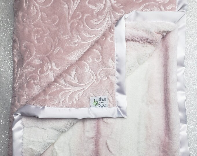 Minky blanket, faux fur throw, Rosewater hide, paisley minky, elegant baby girl blanket, vintage pink, plush blanket, pink and white, adult