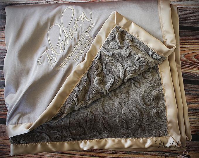 Minky Blanket, satin and minky, soft blanket, adult blanket, oversized blanket, large minky blanket, gold blanket, tan blanket, earth tones
