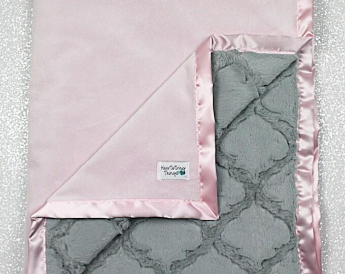 Minky Blanket, baby girl, blanket for girl, pink and grey blanket, pink and silver, lattice blanket, soft blanket, nursery blanket
