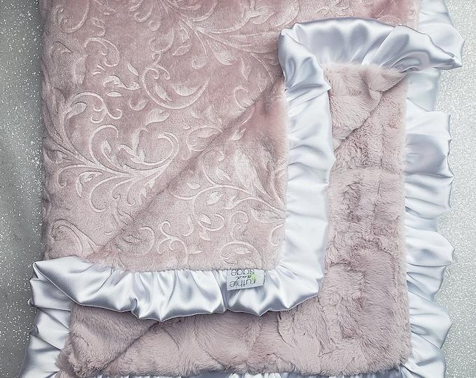 Minky blanket, faux fur throw, Rosewater hide, baby girl blanket, vintage pink, elegant plush blanket, pink and white, scroll minky, ruffle