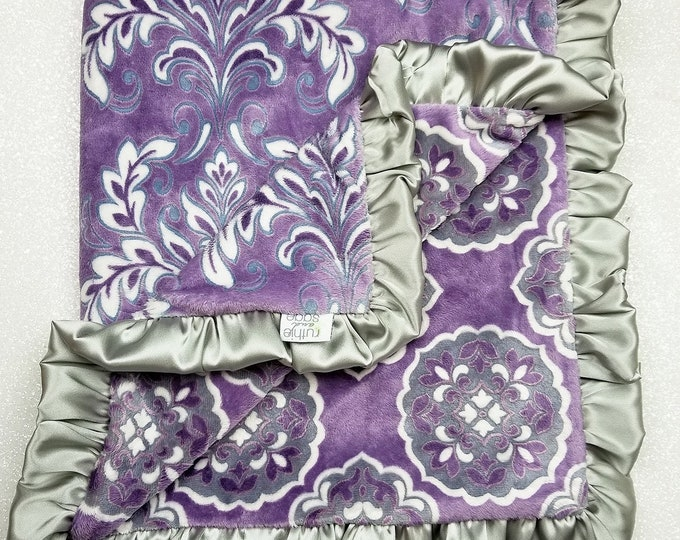 READY TO SHIP: Mar Bella Violeta Minky Blanket, Barcelona Minky, Purple Minky Blanket, purple and gray Blanket, Purple Girls Blanket, gift