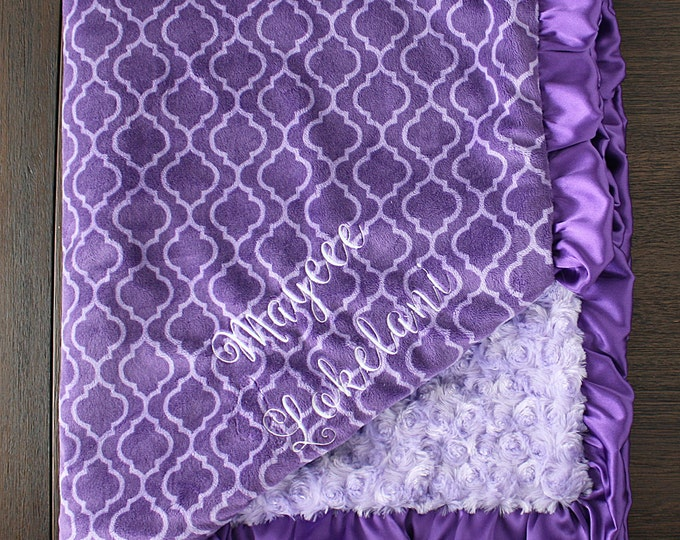 personalized Minky Blanket, purple baby blanket, trellis, Blanket with Embroidery, Blanket with Name, Baby Girl, Baby Blanket, lavender