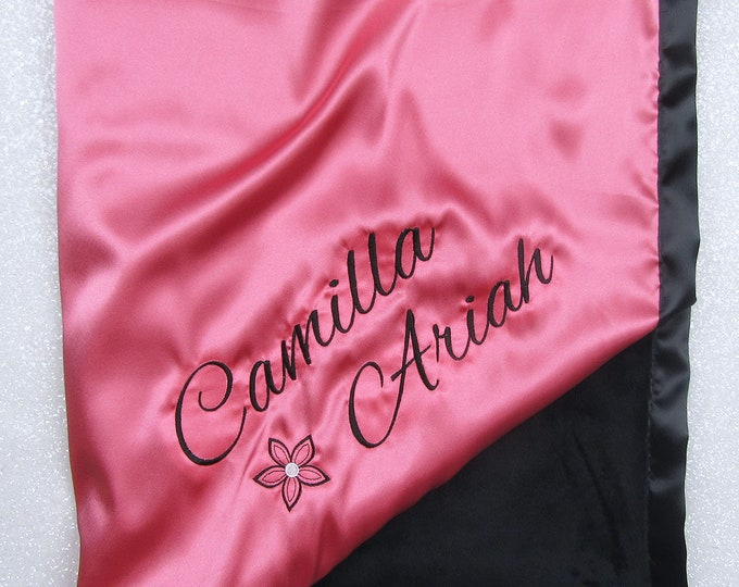 Custom Minky Blanket, personalized blanket embroidered blanket, baby blanket, minky and satin, blanket with name, baby girl, coral and black