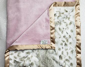 READY TO SHIP Minky blanket, baby girl blanket, animal print, Arctic, Rosewater Minky, taupe, gold, tan, Elegant Blanket, ruffle blanket