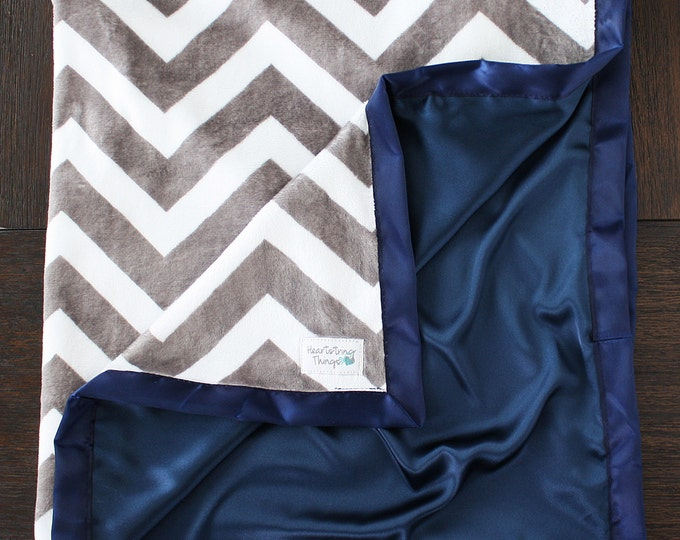 Minky Blanket, Baby boy, navy and grey, chevron blanket, blue and grey, Cowboys, satin blanket, silk blanket, child blanket, woobie, silky