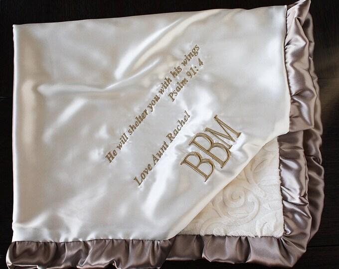 Minky Blanket, Blanket with Name, Blanket with Scripture, Blessing Blanket, Silk Satin Blanket, Ivory and Gold Taupe, Cream Blanket, Baptism