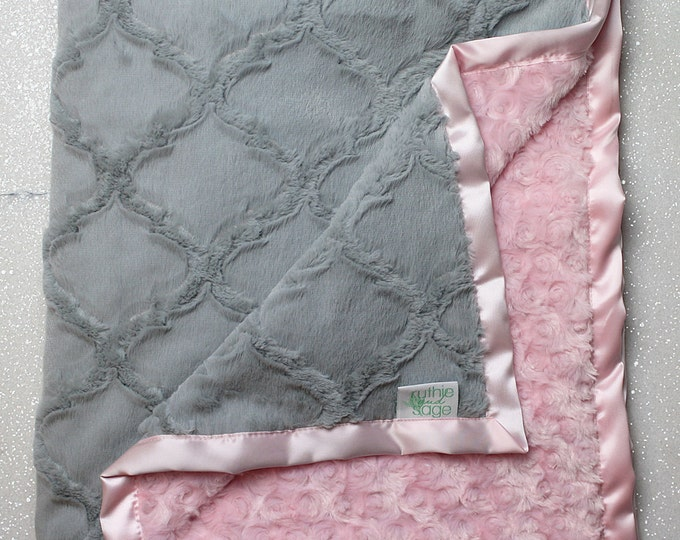 Minky Blanket, baby girl, blanket for girl, white and grey, silver and white, soft blanket, Lattice Print, Ruffle Blanket, Lovie, Silk