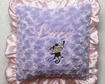 Nursery pillow, minky pillow, ruffle pillow, personalized pillow with name, lavender and pink nursery chair pillow, baby girl gift, monkey