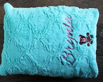 Toddler Pillowcase  WITH  NAME & GRAPHIC, Minky Pillowcase, owl, teddy, bunny, embroidery animal, personalize pillowcase, soft pillowcase