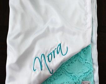 Minky Blanket, Baby girl, Aqua blanket, Greenish Blue and White, Embroidered Blanket, Engraved Blanket, Blanket with Name, Aruba Lattice