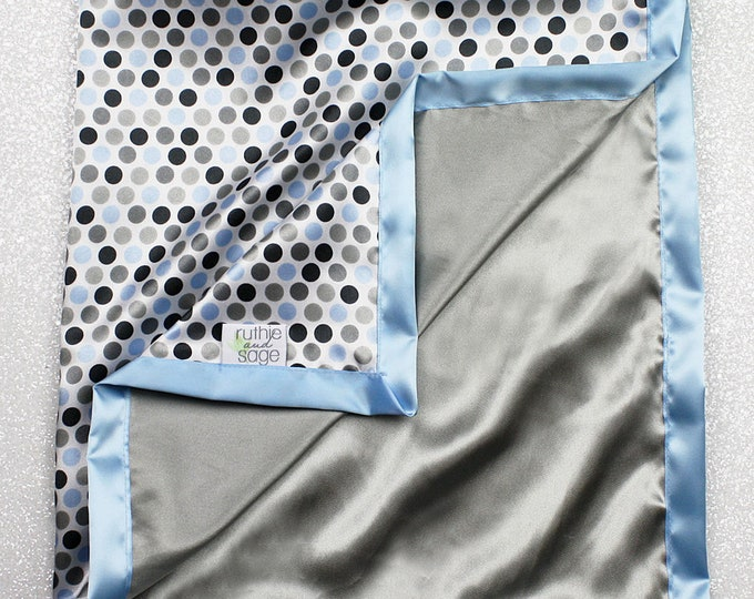 READY TO SHIP:  All satin blanket, Baby boy blanket, baby blue, grey, polka dot, double side satin, baby gift, baby shower, sensory blanket