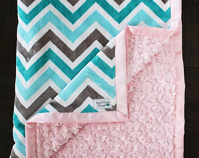 Minky blanket, chevron minky, chevron blanket, teal and pink, aqua and pink, topaz and pink, Baby girl, baby blanket, soft blanket,, lovie