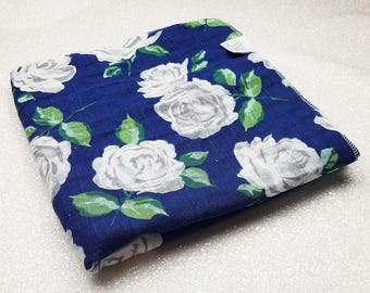 Swaddle blanket, wrap, double gauze, newborn blanket, floral swaddle, newborn photography, baby blanket, baby girl, Vintage Rose, Navy White
