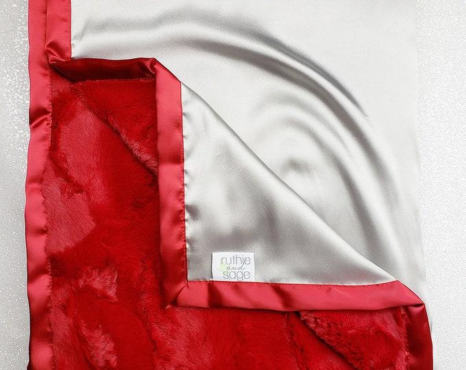 Baby Minky Blanket, Boy blanket, Red and silver, red and grey, Sports Minky Blanket, silky blanket, plush blanket, Cardinal hide, baby girl