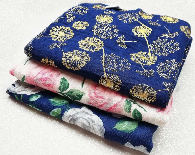 Swaddle blanket, wrap, double gauze, newborn blanket, floral swaddle, newborn photography, baby blanket, baby girl, Metallic Gold, Pink Navy