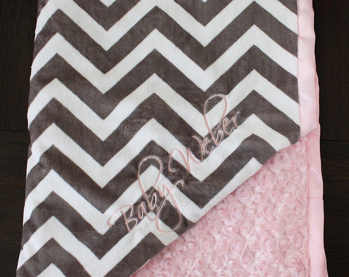 Custom Baby Blanket, Minky blanket, Chevron Blanket, Embroidered Blanket, baby gift, Baby girl, Pink and grey, personalized blanket
