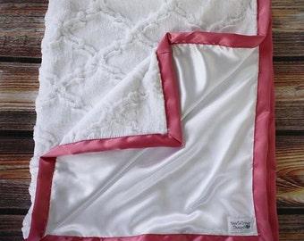 Minky blanket, white minky blanket, soft minky, gift for mom, baby girl blanket, adult minky blanket, women minky blanket, white minky