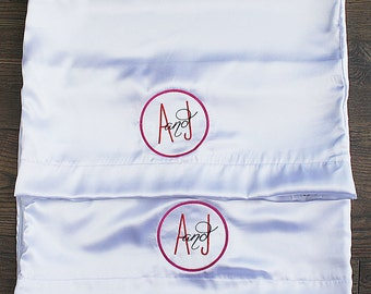 Satin Pillowcase, Monogrammed pillowcases, Set of two pillowcases, Wedding gift, Silk Pillowcase, Personalized Pillowcase