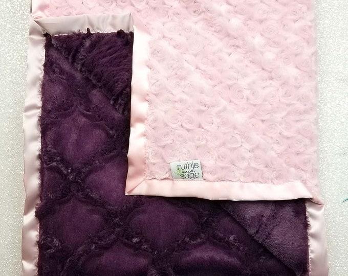 Minky Blanket, baby girl, blanket for girl, pink and purple, custom blanket, soft blanket, princess blanket, Ruffle Blanket, plum lattice