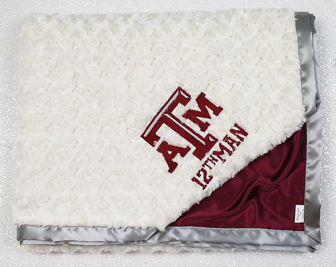Customizable Minky Blanket, baby boy blanket, TAMU blanket, Texas A&M, maroon blanket, texas, football, baby blanket, personalized blanket