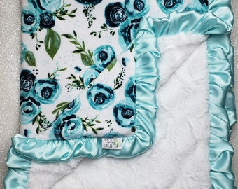 READY TO SHIP Minky blanket, baby girl blanket, rose minky, floral blanket, aqua and white, plush blanket, teal minky, mint, baby gift