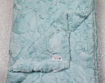 Minky blanket, faux fur throw, seaglass hide, Ocean water minky, seafoam throw, green minky, mint, soft blanket, adult minky, elegant plush