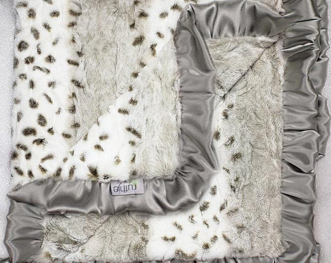 Minky Blanket, Arctic Snow Leopard print, neutral, soft luxurious throw, Faux fur blanket, silver ruffle, greige, warm tones, fluffy
