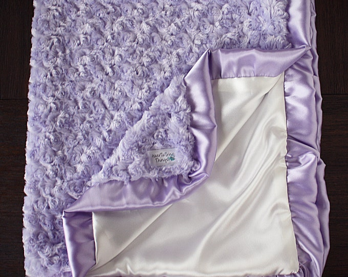 Baby girl, minky blanket, baby blanket, lavender and cream, purple and white, ruffle blanket, silky blanket, satin blanket, baby gift, minky