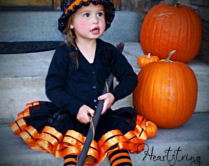 Halloween skirt halloween pettiskirt ribbon pettiskirt ribbon skirt Chiffon Pixie Pettiskirt double lined with Satin Ribbon Black and Orange