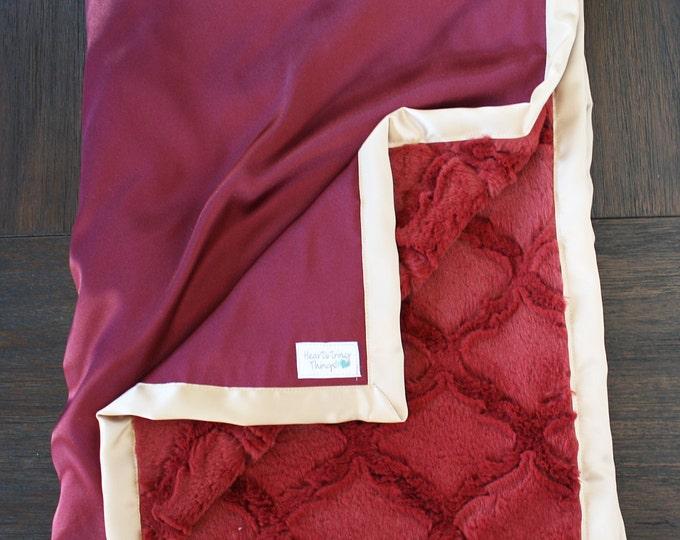 Minky Blanket, Maroon Blanket, Maroon and Gold, Maroon and Tan, Minky and Satin, Blanket for Man, Baby boy, Florida State, Seminole, silk