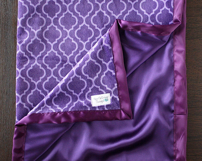 Minky Blanket, purple blanket, purple and lavender, satin blanket, trellis lattice blanket, purple tile, baby girl blanket, silk, satin