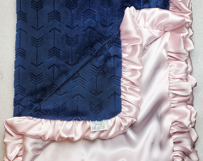 READY TO SHIP: Minky and Satin Blanket, navy, embossed arrow, rosewater satin, antique pink, baby girl, baby blanket, baby shower, gift,