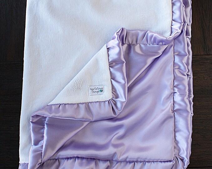 Baby girl, minky blanket, ruffle blanket, white and lavender, purple blanket, lavender blanket, doc mcstuffins, elegant  blanket, gift ideas