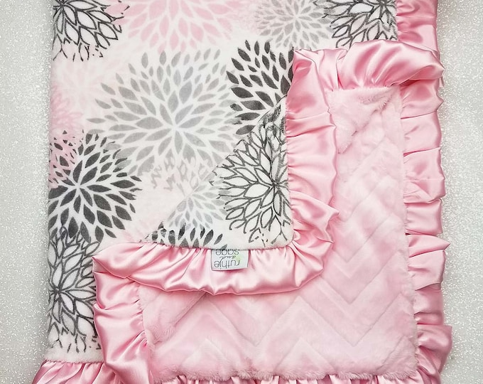 READY TO SHIP: Minky, baby girl blanket, baby gift, Floral blanket, PInk and grey, Modern Bloom, Plush, blush bloom minky, baby shower gift