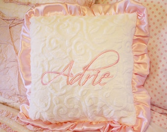 Nursery pillow, minky pillow, ruffle pillow, personalized pillow, pillow with name, baby pillow, nursery chair pillow, baby girl, baby gift