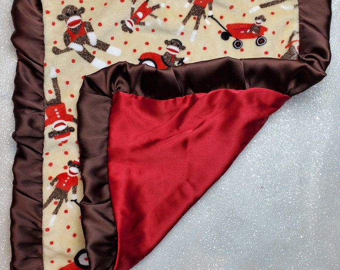 READY TO SHIP: Minky and Satin Lovie, Mini size blanket, Tag a long blanket, security blanket, sock monkey, red satin
