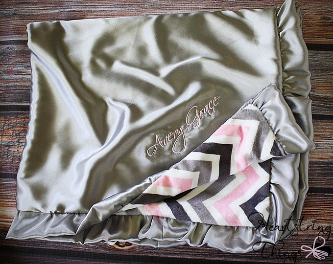 Minky blanket, Embroidered blanket, satin and minky, blessing blanket, grey pink and white, ruffle blanket, personalized blanket, baby gift