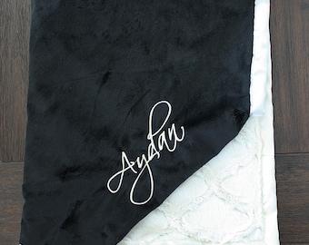 Minky Blanket, Baby Boy, Baby Girl, Personalized blanket, embroidered blanket, black and white blanket, unisex blanket, soft blanket