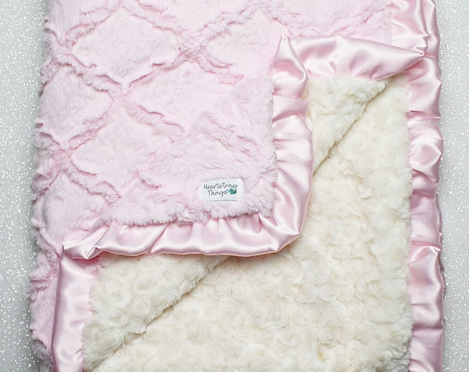 Minky Blanket, baby girl, blanket for girl, baby pink and cream, pink and ivory, lattice blanket, soft blanket, baby bedding, ruffle blanket