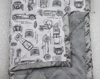 Baby boy blanket, cars blanket, automobiles, RKC, cars nursery, baby gift,  Boy Minky, Baby boy blanket, Silver Minky, seaglass hide, minky