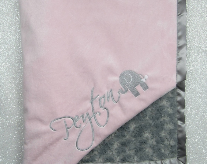 Embroidered Minky Blanket, Elephant blanket, pink and grey, Baby Girl, Soft blanket, Rose minky, Baby shower, baby gift, Blanket with name
