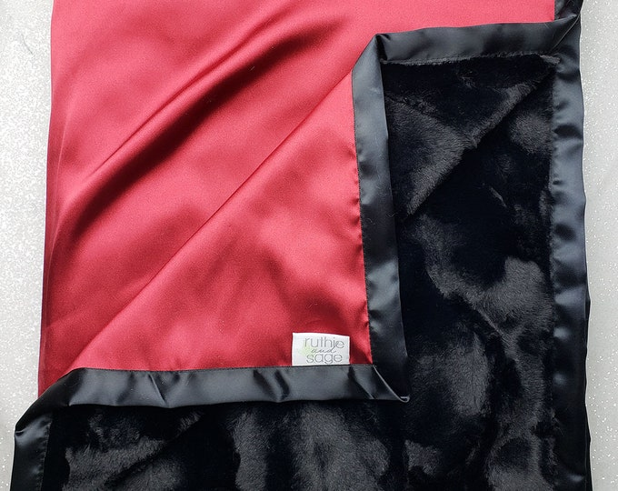 READY TO SHIP: Minky blanket, satin blanket, Adult blanket, silky blanket, black and red, plush blanket, blanket for man, father's day,