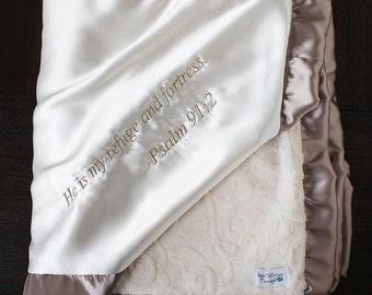 Minky Blanket, Blessing Blanket, Baptism blanket, satin and minky blanket, Christening Blanket, Blanket with scripture, ivory and gold