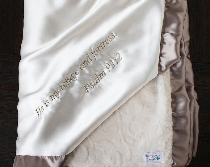 Minky Blanket, Blessing Blanket, Baptism blanket, satin and minky blanket, Christening Blanket, Blanket with scripture, ivory and gold