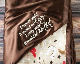 Baby Blanket, Minky blanket, sock monkey, sock monkey minky, brown and red blanket, Embroidered Blanket, personalized blanket, soft blanket