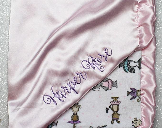 Minky Blanket, embroidered blanket, Blanket with name, Ballerina Minky, Dancer minky, tutu minky, pink and lavender, ruffle blanket, satin