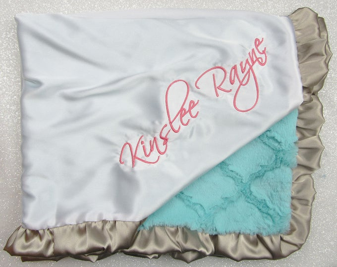 Personalized Minky Blanket, coral aqua and gold blanket, baby blanket, Satin Blanket, baby gift, mint and coral, blanket with name, silk