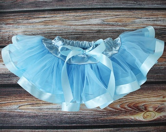 Baby Blue Chiffon Pixie Pettiskirt lined with Satin Ribbon adapted from Petti Skirt for Baby or Child